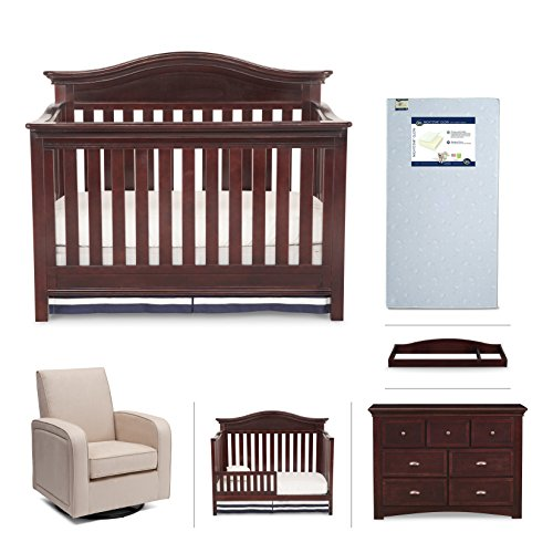 Simmons Kids Augusta 6-Piece Molasses Brown Nursery Furniture Set: Convertible Crib | Daybed/Toddler Guardrail | Dresser | Changing Top | Crib Mattress |Glider from Delta Children