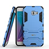 Heartly Samsung Galaxy C5 Back Cover Graphic Kickstand Hard Dual Rugged Armor Hybrid Bumper Case - Power Blue