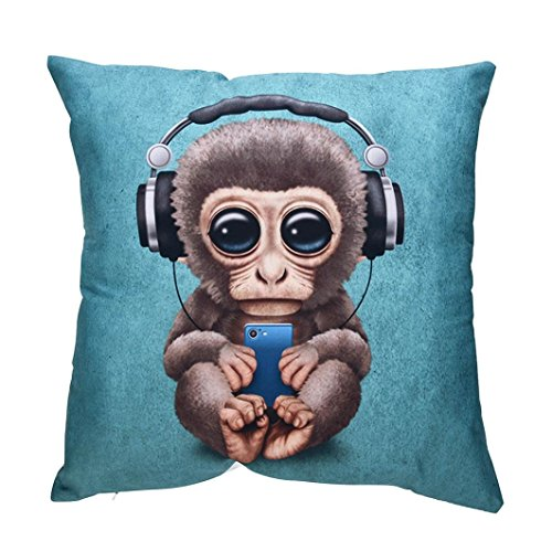 (Cute Animal Print Pillowcase, Leyorie Square Pillow Cases Polyester Living Room Cushion Cover Gifts (Monkey))
