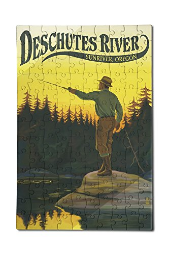 Deschutes River, Sunriver, Oregon - Fly Fishing Scene (12x18 Premium Acrylic Puzzle, 130 Pieces)