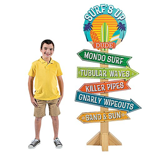 (Fun Express - Surfs Up Birthday Directional Sign for Birthday - Party Decor - Large Decor - Floor Stand Ups - Birthday - 1 Piece )