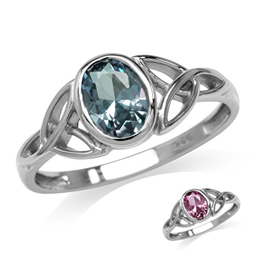 Simulated Color Change Alexandrite White Gold Plated 925 Sterling Silver Triquetra Celtic Knot Ring Size 4.5