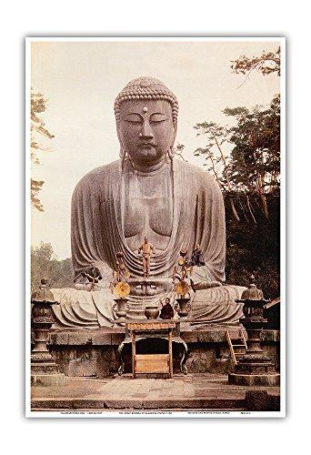 The Great Buddha of Kamakura (Daibutsu) Statue - K_toku-in Temple, Japan - Vintage Religious Art c.1921 - Master Art Print - 13in x 19in