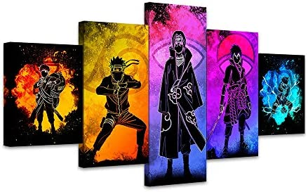 5 Piece Canvas Wall Art paintings Framed HD Prints Picture Wall Art 5 Panel Naruto Sasuke Anime Paintings Canvas Poster Living Room Home Decoration FUTYE