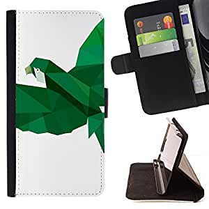 Momo Phone Case / Flip Funda de Cuero Case Cover - Loro Pájaro Blanco Verde Vuelo - HTC One M9