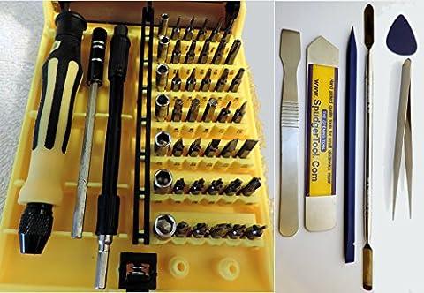 51 Piece SpudgerToolCOM Ultimate Tool Set: 42 Bit Screwdriver Kit w/ Ultra Thin Pry Tool, Tweezers, Spudgers & More, DIY Repairs Apple, Macintosh, Samsung Galaxy, iPhone and any Small (Macintosh Repair)