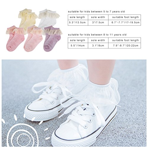 Vbiger Girls Cute Eyelet Frilly Princess Lace Ruffles Socks Toddler/ Little Girls Ankle Socks, 5 Pairs£¨5-7 years) by VBIGER (Image #1)
