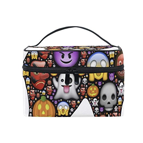 Cosmetic Case Bag Halloween Black Cat Emoticons Portable Travel Makeup Bag Toiletry Organizer for $<!--$12.99-->