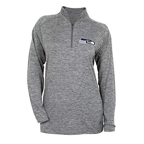 Zubaz NFL Seattle Seahawks Women's 1/4 Zip Sweatshirt, Gray, Small