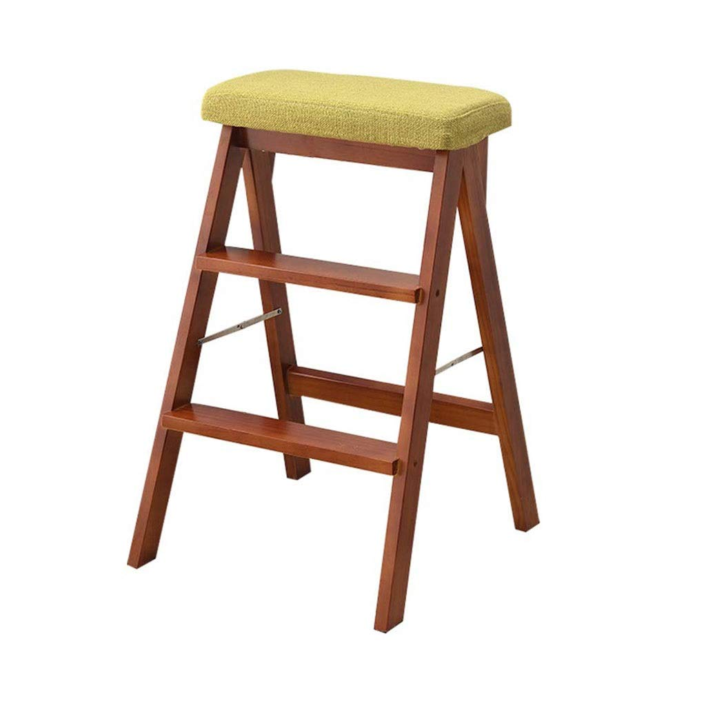 E ZDYUY Folding Chairs for Home Portable Ladder for Adults Simple Creative Kitchen Chair Small Stool Solid Wood Stool High Stool (color   F)