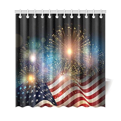 INTERESTPRINT American Flag Fireworks Custom Shower Curtain 69 X 72 Inches Polyester Fabric Bathroom Sets Home Decor