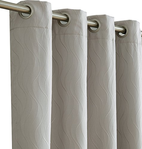 HLC.ME Camden 100% Blackout Thermal Window Curtain Grommet Panels – Energy Efficient, Complete Darkness, Noise Reducing – For Living Room & Bedroom – Set of 2 (50″ W x 84″ L, Light Grey/Silver) Review