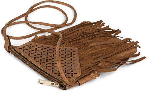 découpés franges cool sac Gris motifs avec style et à petit couleur sac bandoulière styleBREAKER femme bandoulière à et sac Foncé Gris ethnique 02012126 foncé xqOwY78pp