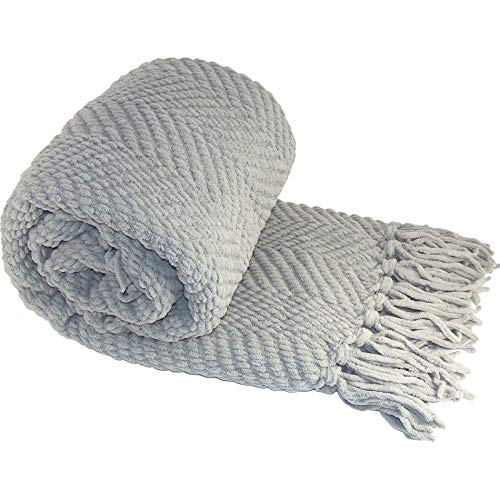 Home Soft Things Knitted Tweed Throw Couch Cover Blanket, 50 x 60, Silver