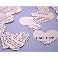 Vintage Shakespeare Heart Confetti for Literary Wedding Party Table Scatter Decoration (200 pieces)