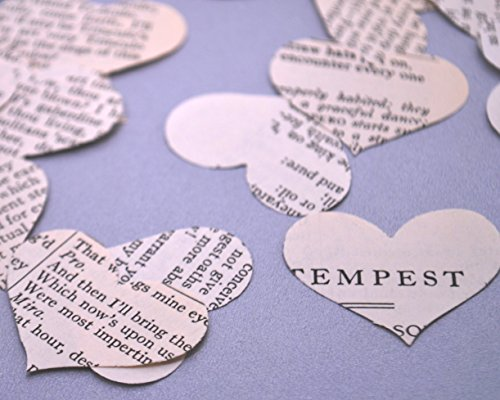 Vintage Shakespeare Heart Confetti for Literary Wedding Party