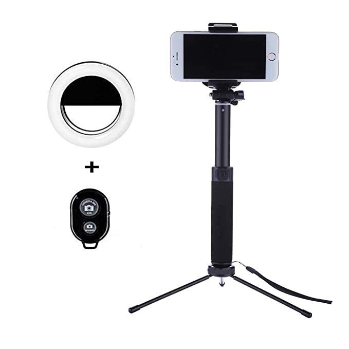 buy popular c628d 2b482 Selfie Stick Tripod 44 Inch with Ring Light Remote Bluetooth for Live  Stream Compatible for iPhone X/SE/6/6s/6 Plus/7/7 Plus/8/8 Plus/,Samsung  8/S8/S8 ...