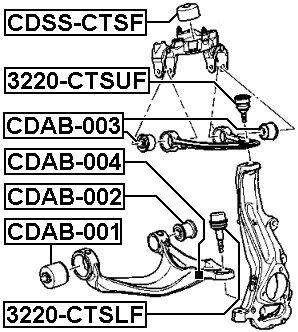 Arm Bushing Front Lower Arm FEBEST CDAB-004 OEM 25862781