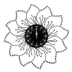 AHUA Beautiful Starburst Wall Clock, Sunburst Clock, Large Wall Clock,27.6 Metal Crystal Decorative Circle Flower Wall Cock, Sparkling Bling Metallic Flower Shaped Diamond Accents Wall Clock for Hall