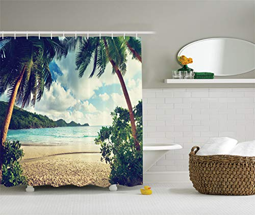 Ambesonne Palm Tree Shower Curtain, Summer Beach Vintage Style Tropical Sunset Picture Print, Cloth Fabric Bathroom Decor Set with Hooks, 70