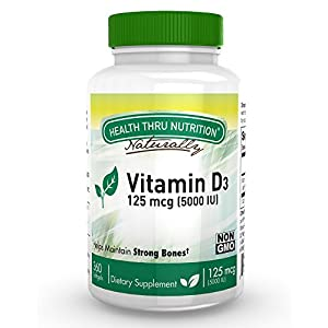 Vitamin D3 5000 IU, Non-GMO, 360 Mini Softgels, Soy Free, USP Grade Natural Vitamin D