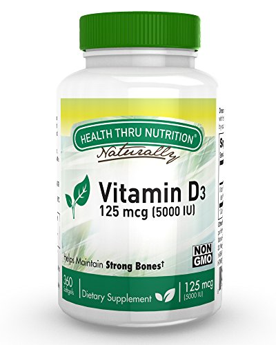 Vitamin D3 5000 IU, Non-GMO, 360 Mini Softgels, Soy Free, USP Grade Natural Vitamin D - 5000 Iu 360 Softgels