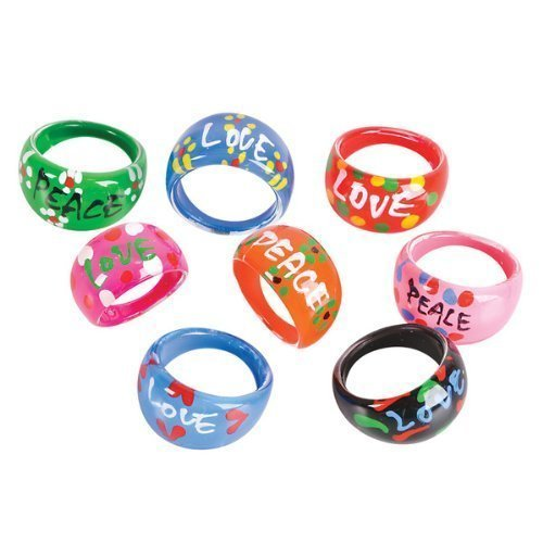 36 Colorful LOVE PEACE Rings/PARTY FAVORS/Gifts/SIXTIES/60's/HIPPIE/FLOWER POWER/RETRO/Girls/TWEENS]()