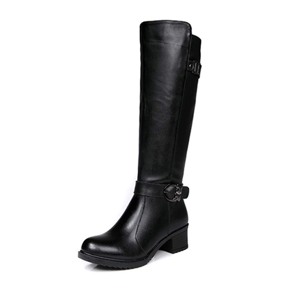 [해외][シュウカ] 롱 부츠 여성용 가죽 롱 부츠 엔지니어 부츠 부츠 기 검정 큰 안락한 덜 피로 블랙 프린스 힐 로우 힐 미각 사이드 지퍼 / Long Boots boots women genuine leather long-boots boots jockey Boots black large size easy to walk fatigu...