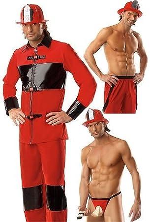 Hombre rojo y negro bombero emergencias traje Sexy vestido ...