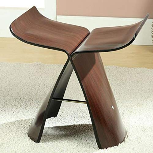 BROWN QYSZYG Creative Small Bench, Household Solid Wood Stool, Simple Butterfly Stool, Solid Wood shoes Bench Stool (color   Brown)