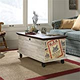 Pemberly Row Rolling Trunk Coffee Table in White Plank For Sale