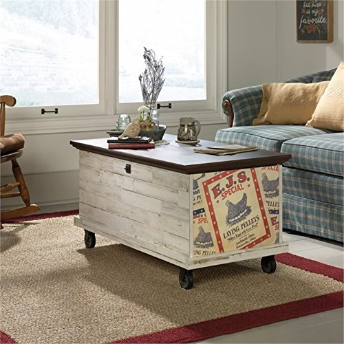 Pemberly Row Rolling Trunk Coffee Table in White - Cocktail Table Trunk