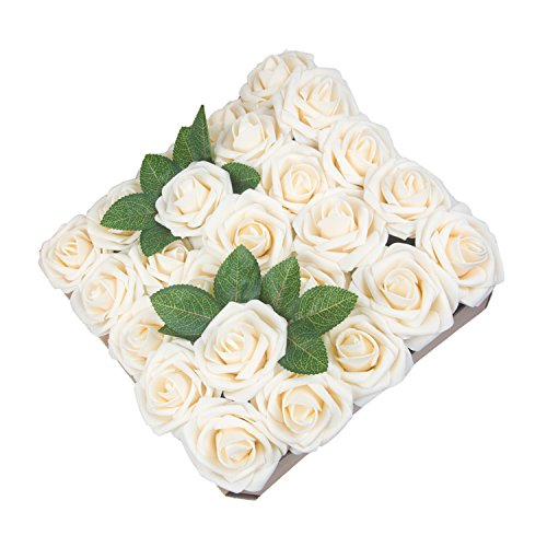 Umiss Dinopure Wedding Bouquet 50pcs Artificial Flowers White Real Touch Artificial Roses for Bouquets Centerpieces Wedding Party Baby Shower DIY Decorations (Cream)