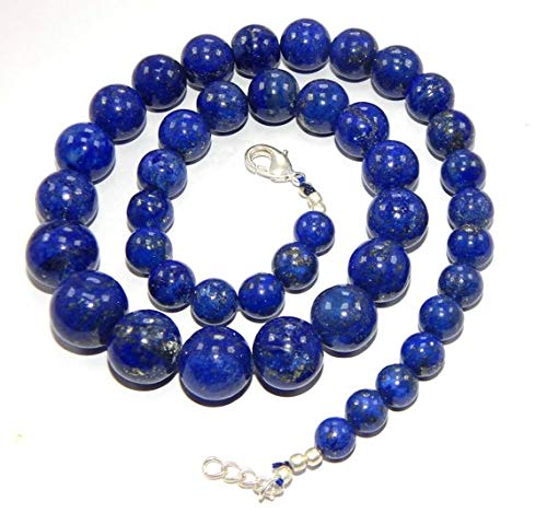 Earth Gems Park Beautiful Jewelry 20' long strands 8-16 mm smooth round AAA quality blue lapis lazuli gemstone beads ready to wear necklace jewelry Code-UK-2515
