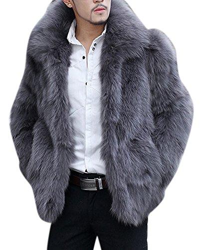 Men's Winter Lapel Short Faux Fur Animal Grey Coat Jacket Outwear 4XL Grey