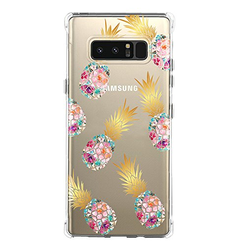 Galaxy Note 8 Case,Samsung Galaxy Note 8 Case with Flower,DOUJIAZ Slim Shockproof Clear Floral Pattern Soft Flexible TPU Back Cover for Samsung Galaxy Note 8 (7 Pineapple flower)