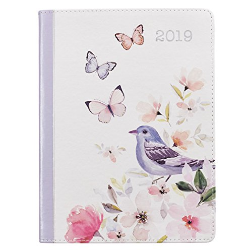 (2019 Daily Planner for Women: Floral Luxleather - Lamentations 3:22-23)