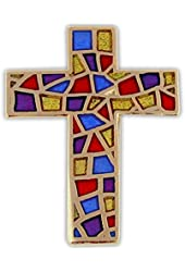 Stained Glass Cross Religious Lapel Pin