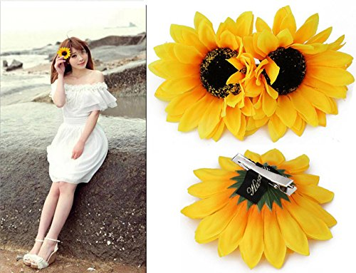 (6PCS 4 inch Yellow Sunflower Hair Alligator Hairpin Hair Clips Clamp Barrettes Styling Accessories Ties Tools For Women Lady Girls Party Beach Vacation Wedding Bridal)