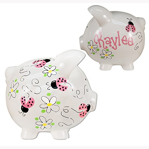 Girl's Hand Painted Personalized Pink Ladybug Piggy Bank - Large White Ceramic piggybank Baby -