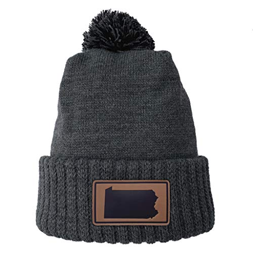 (Homeland Tees Pennsylvania Leather Patch Cuff Beanie Charcoal with Pom )