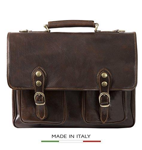 Alberto Bellucci Men's Italian Leather Briefcase Flapover Double Compartment 15.6