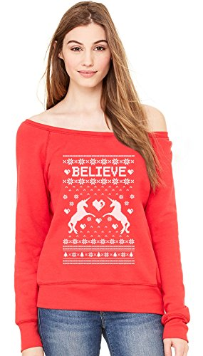 Believe in Unicorns Xmas Ugly Sweater Off shoulder