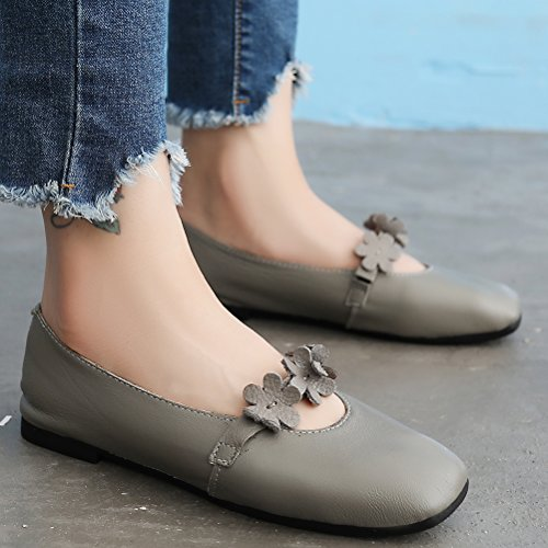 Flat 1 Daisy Sweet Mordenmiss Women's Gray Bow Glove Style Shoes HPYqf