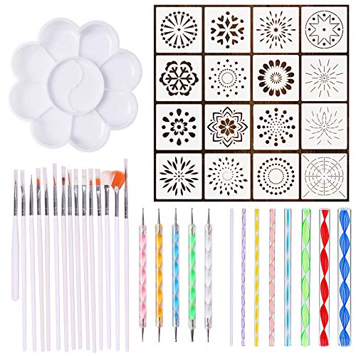 45 Pieces Mandala Dotting Tools for Rock Painting, Embossing Pattern, Craft, Canvas and Drawing (45 - Patterns Embossing