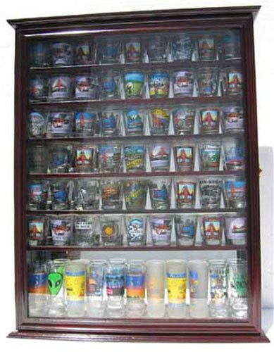 Cherry Large 72 Shot Glass Display Case Wall Shelf Holder Cabinet Mirror Back by Display Case
