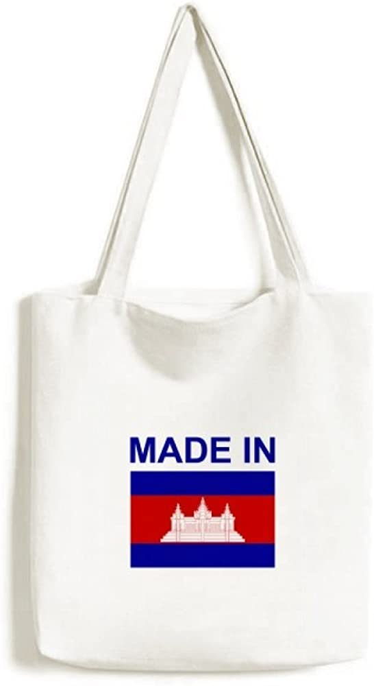 Made In Cambodia Country Love Tote Canvas Bag Shopping Satchel Casual Handbag