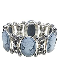 Alilang Womens Stretchy Antique Silvery Tone Vintage Victorian Cameo Lady Maiden Bangle Bracelet
