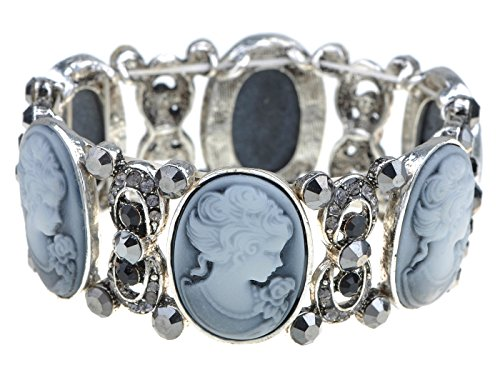 Alilang Womens Stretchy Antique Silvery Tone Vintage Victorian Cameo Lady Maiden Bangle Bracelet ()