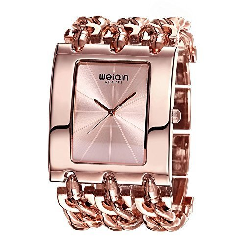 JIANGYUYAN Womens gorgeous Fashion Classic Casual Luxury jewelry watch Business Dress watches Bracelet bangle Chain wristwatches Rose Gold Stainless Steel Square case watches for ladies for big (Chain Gold Wrist Watch)